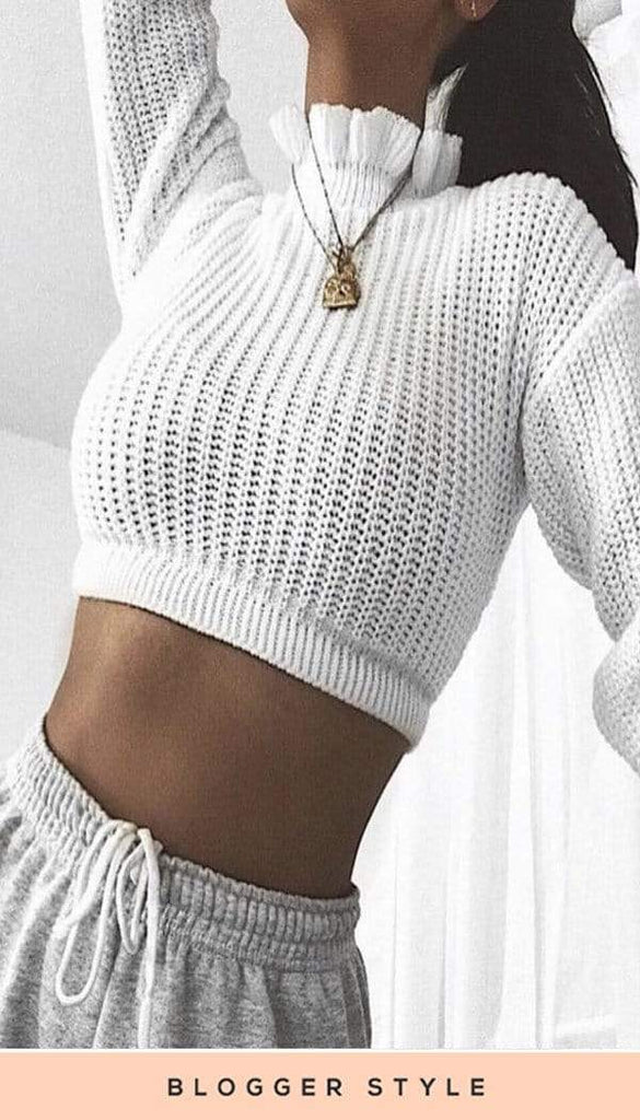 Frill Edge Cropped Jumper In Cream