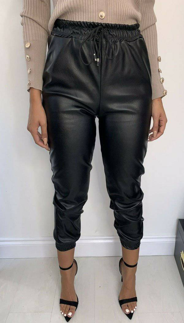 Leather Look Joggers In Black
