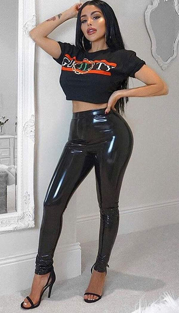 PU Vinyl Trouser Legging In Black
