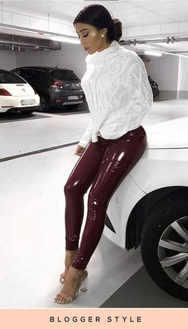 PVC Vinyl Trouser Legging In Wine