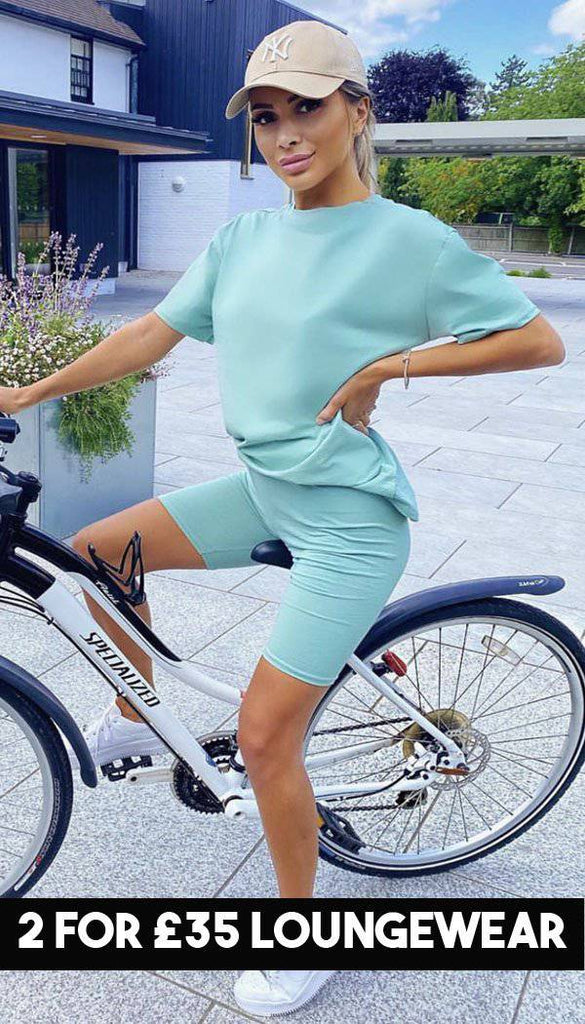 Mint Oversized T-shirt Cycling Two Piece