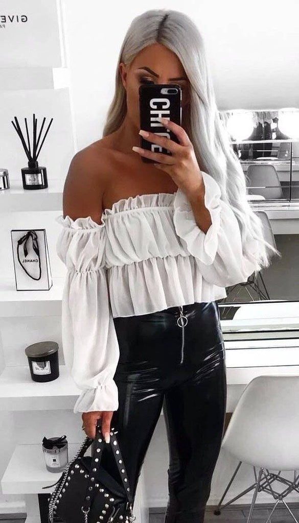 Off Shoulder Sheer Latern Crop Top In Cream