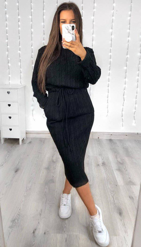 Pocket Tied Knitted Midi Dress In Black