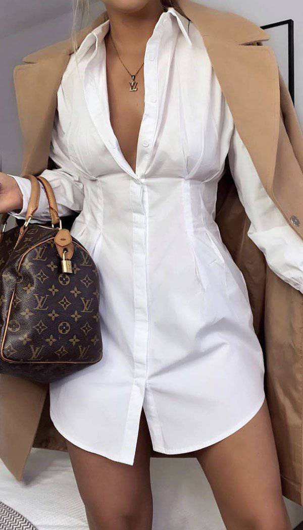Pull In Waist Shirt Dress In White