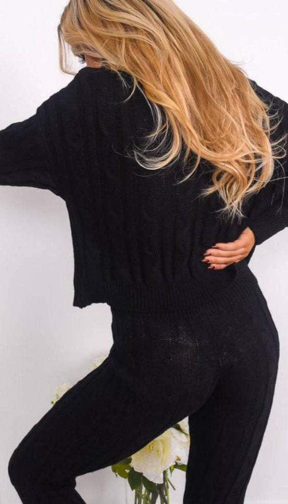 Roll Neck Cable Knitted Legging Two Piece