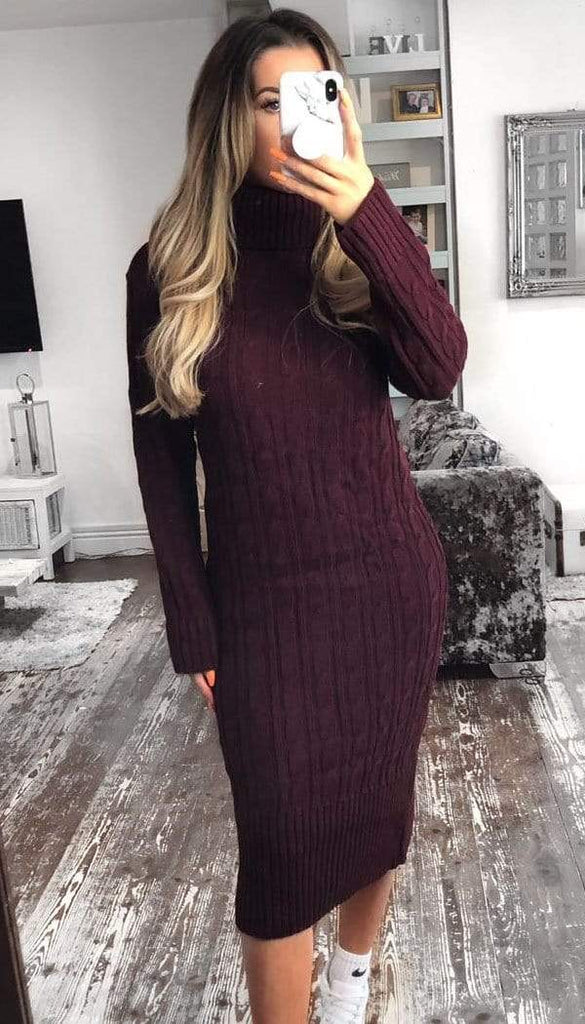 Roll Neck Cable Midi Dress In Wine