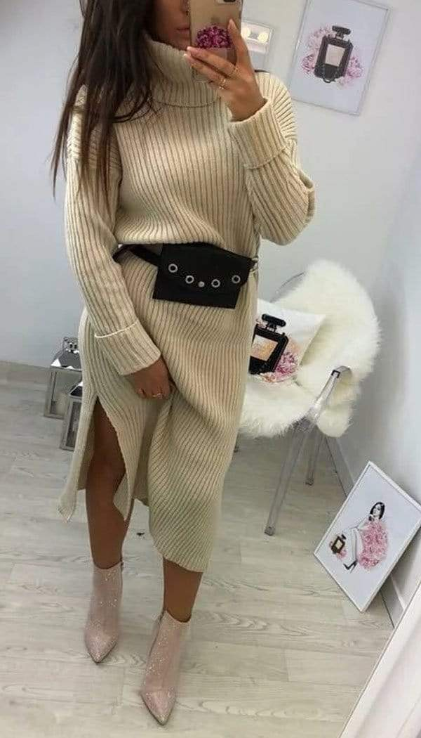 Roll Neck Chunky Knitted Split Midi Dress