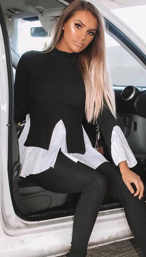 Shirt Hem Legging Two Piece Co-ord In Black