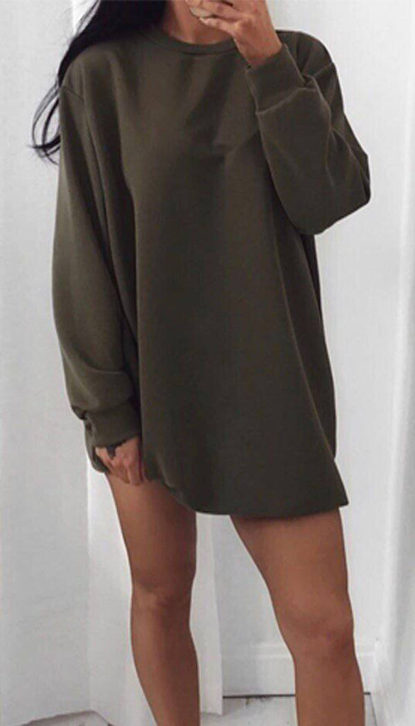 Oversized Sweater Dress In Khaki
