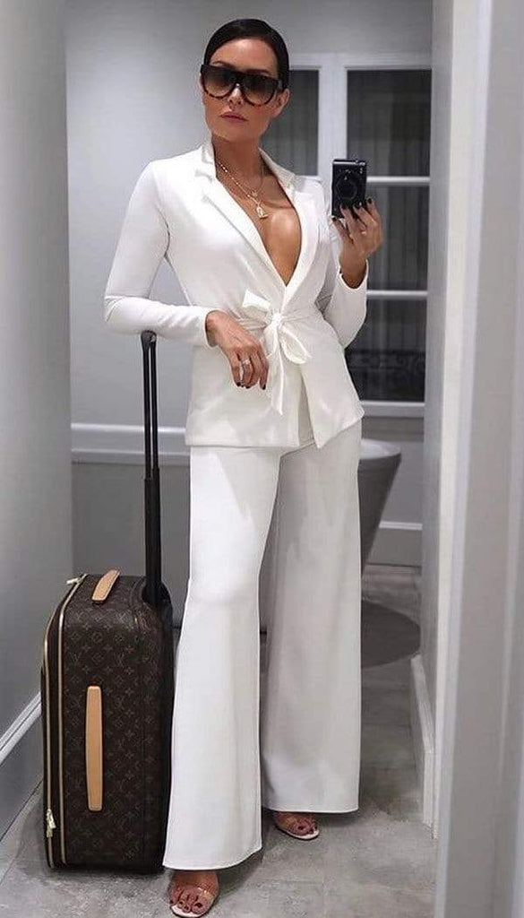 Tied Front Blazer In White