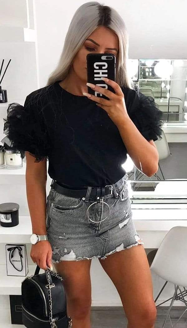Tulle Puff Frill Sleeved T-Shirt