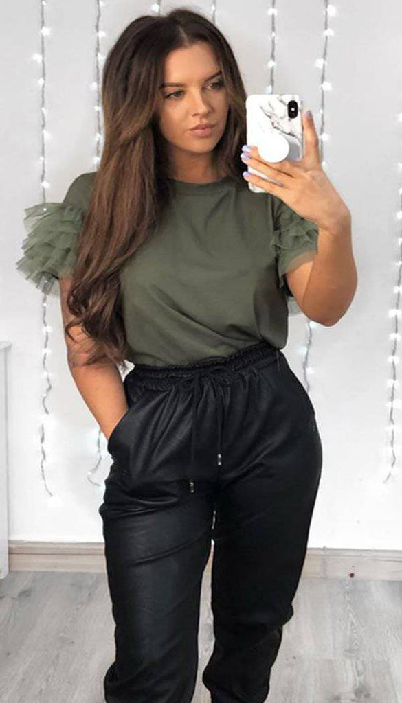 Tulle Puff Frill Sleeved T-Shirt In Khaki