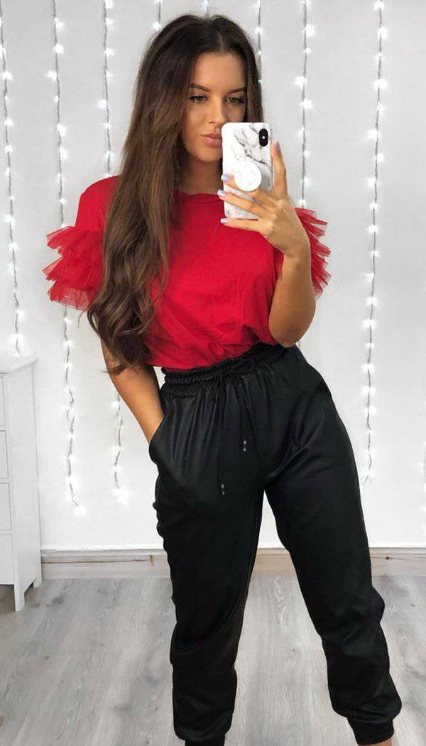 Tulle Puff Frill Sleeved T-Shirt In Red