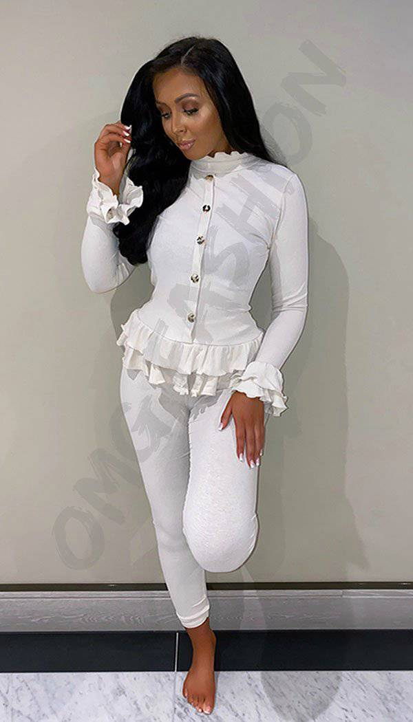 Peplum Ribbed  Button Two Piece Co-ord with Frill Sleeve and Hem