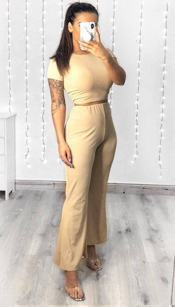 Short Sleeved Ribbed Trouser Two Piece Set