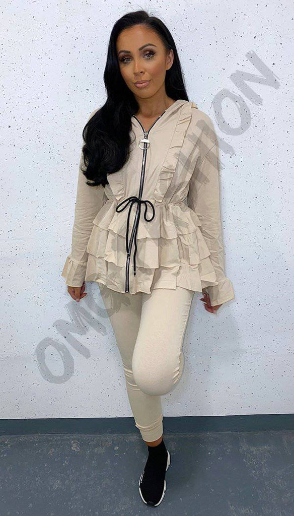 Zip Tied Peplum Two Piece Co-ord with Hoodie and Frill Sleeve