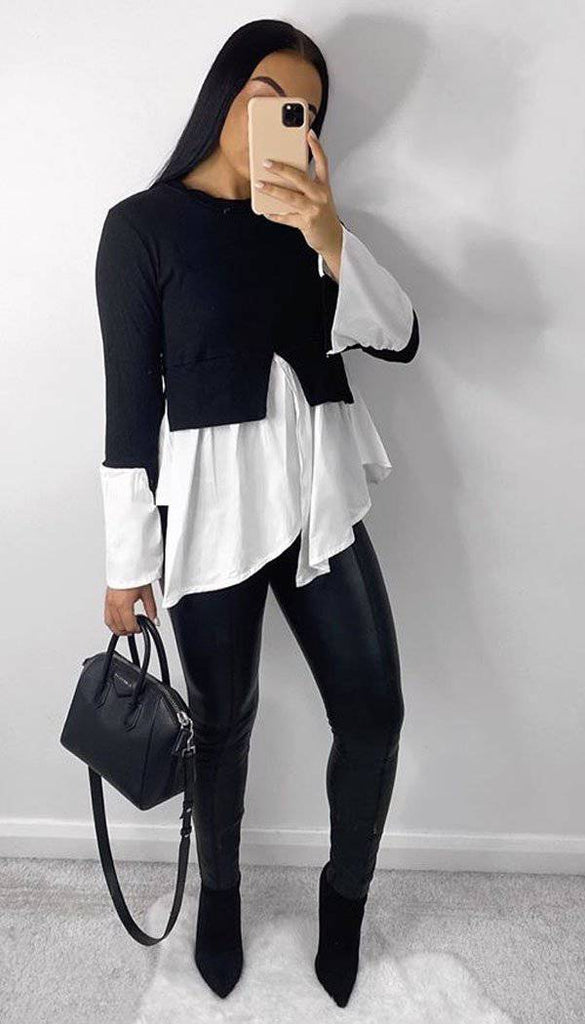 Shirt Frill Sleeved Hem top
