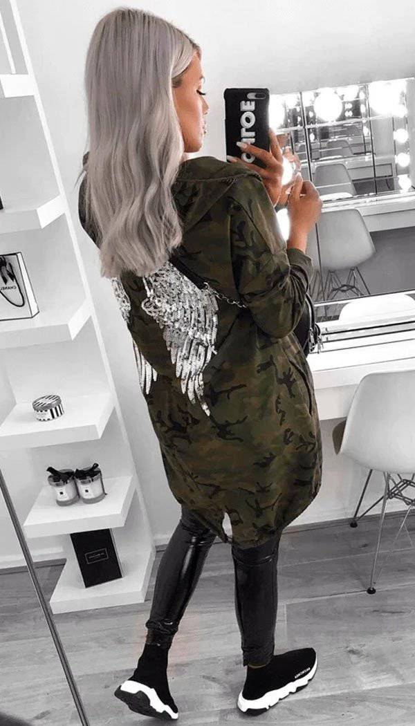 Sequin Angel Wings Hoodie Jacket (50% OFF SALE)