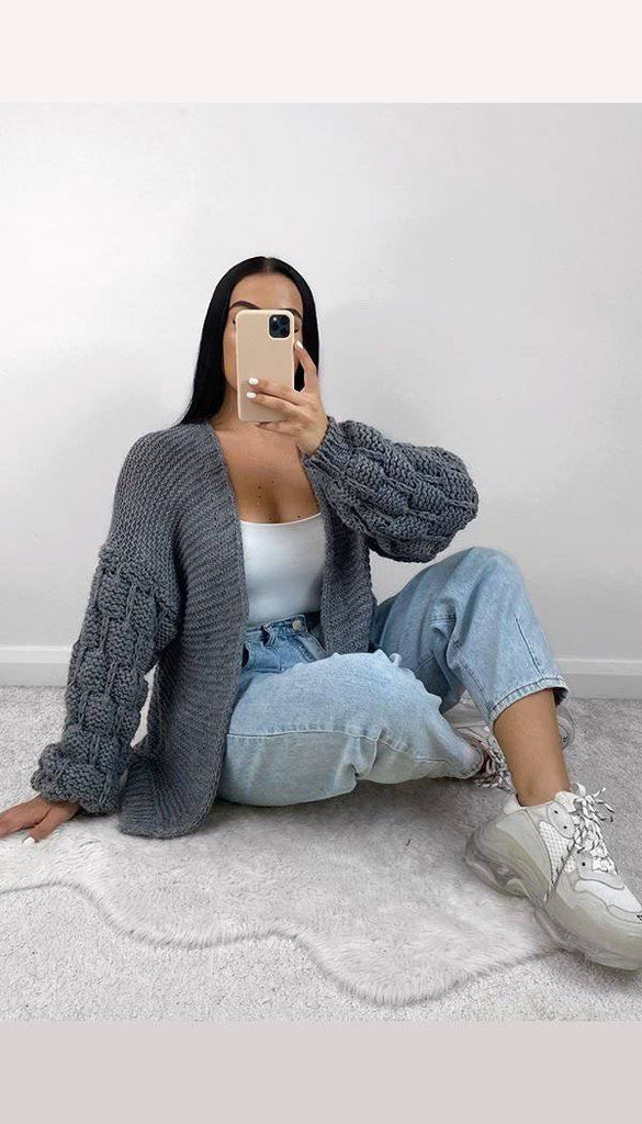 Bubble Sleeved Knitted Cardigan