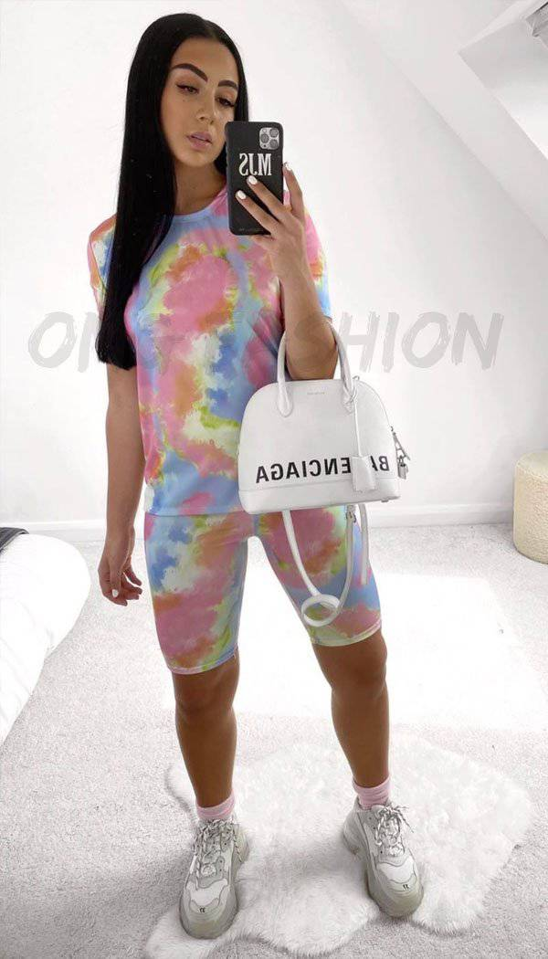Tie Dye Cycling Short Two Piece Set