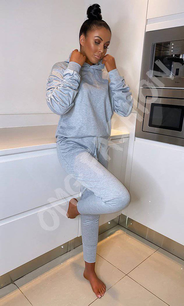 Ponti Hooded Ruche Sleeved Lounge Wear Tracksuit