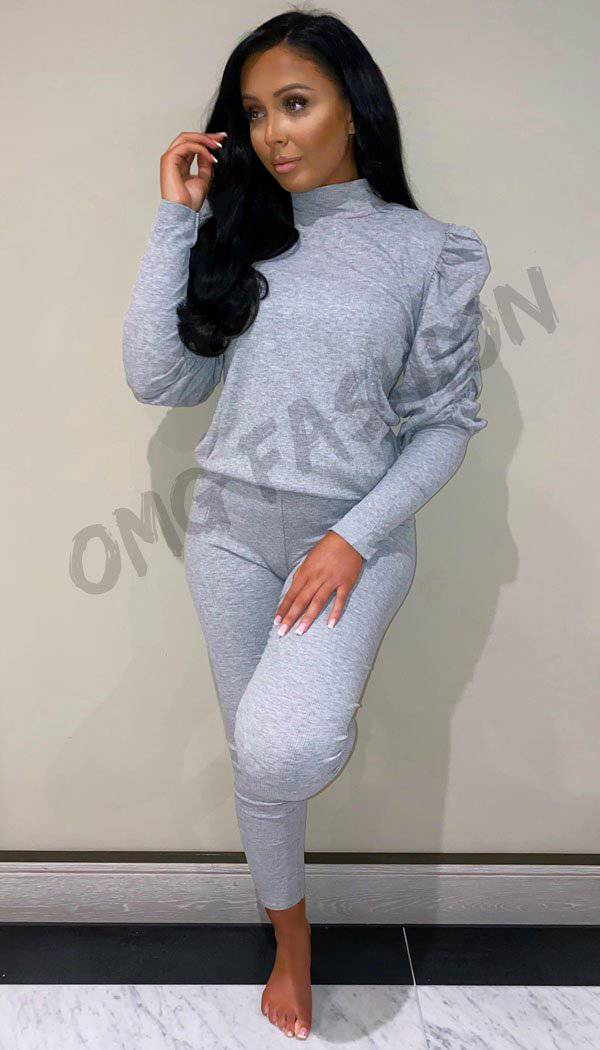 Ruche Ruffle Sleeved Lounge Two Piece Set