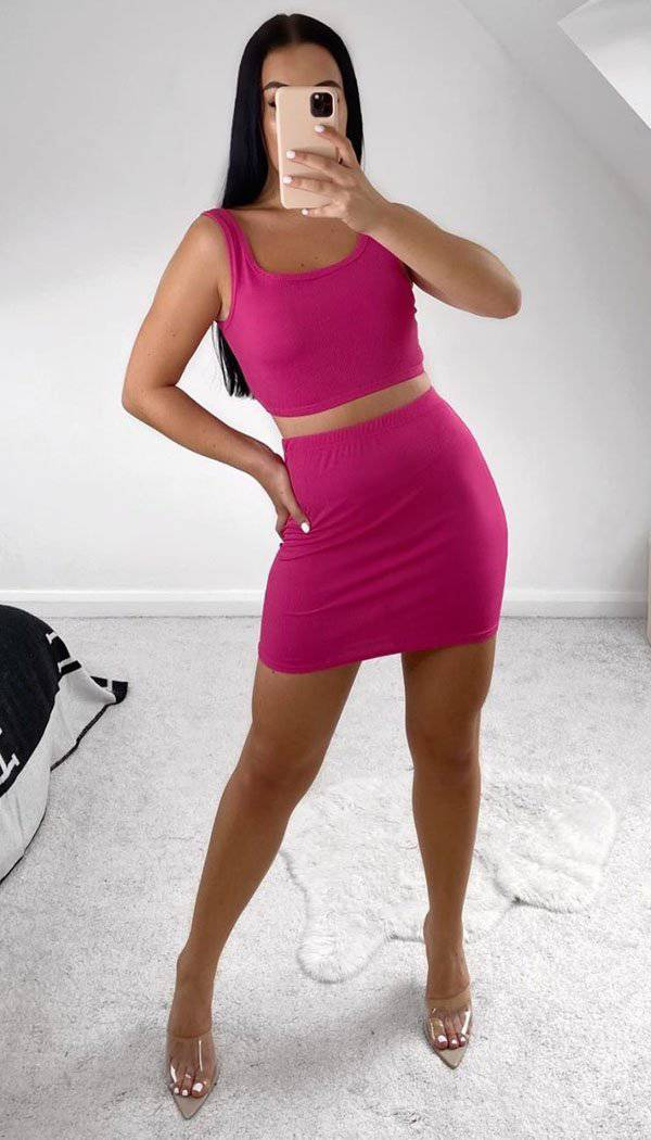 Ribbed Bodycon Two Piece Mini Set