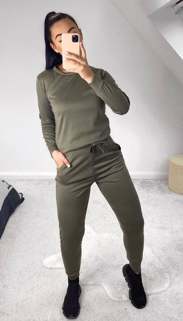 Long Sleeved Quality Plain Loungewear Tracksuit