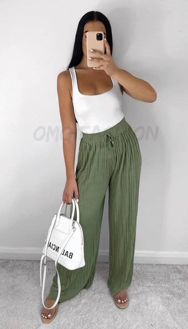 Tie Pleated Curlotte Trousers