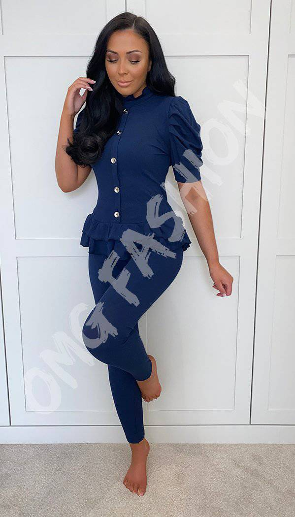 Short Sleeved Peplum Ribbed Button Two Piece Co-ord With Leggings