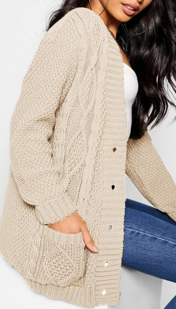 Knitted Boyfriend Button Cardigan