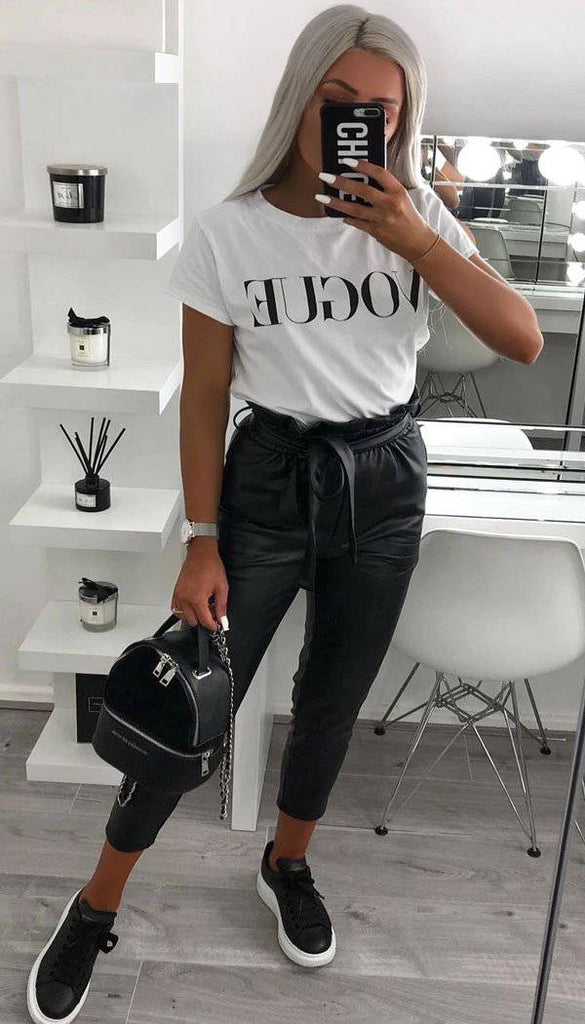 Faux Leather Paper Bag Trousers