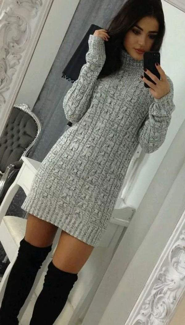 PLUS SIZE Cable Knitted Polo Neck Jumper Dress