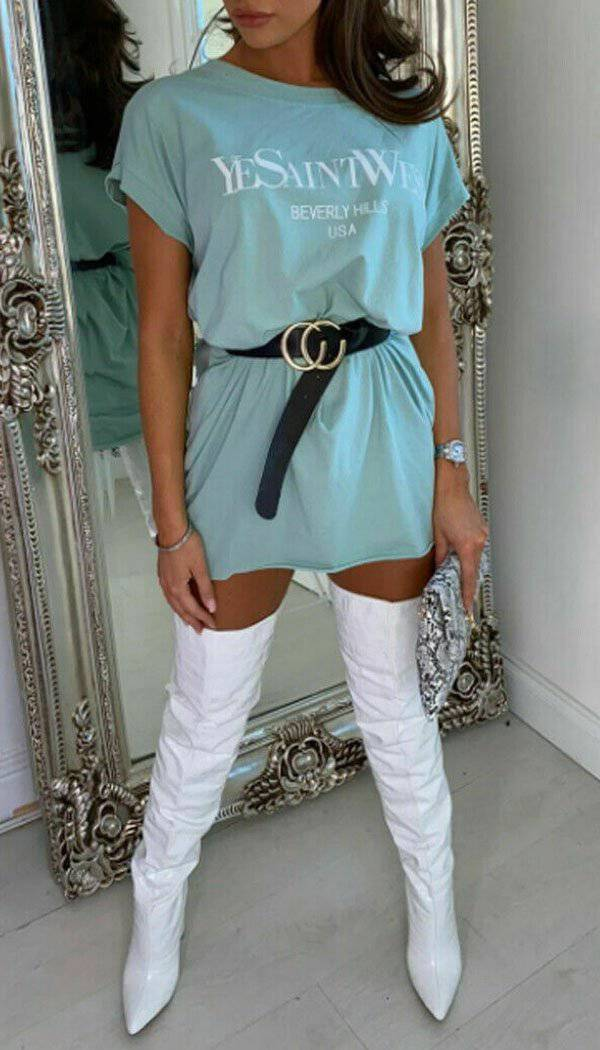 YeSaintWest Dip T-shirt Dress In Mint