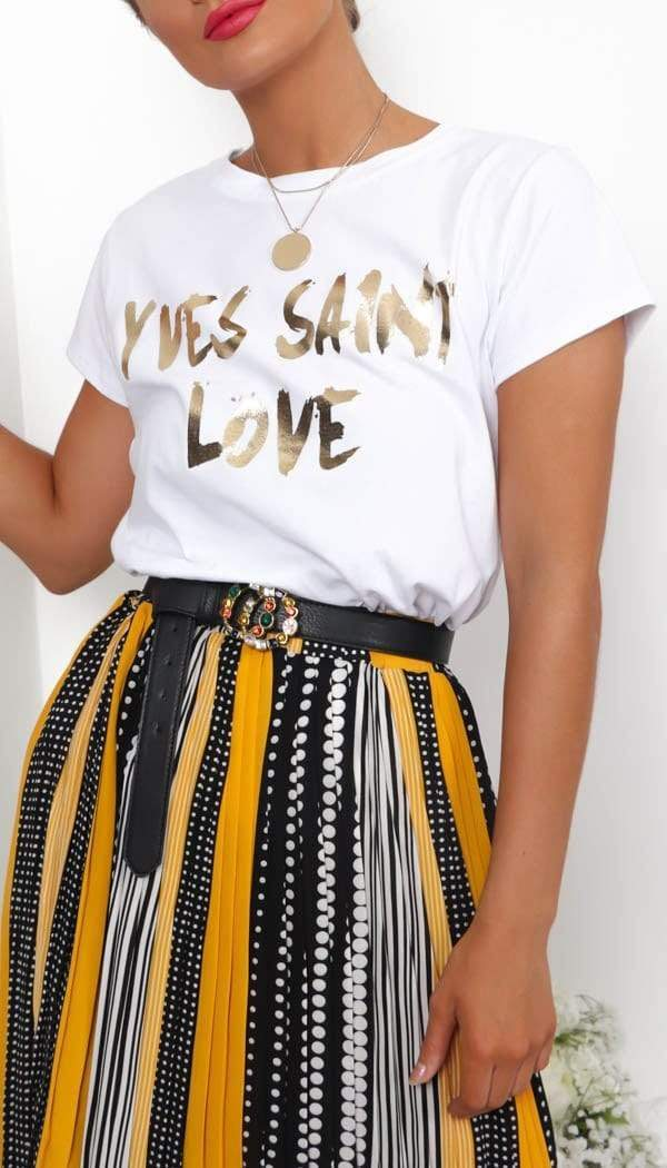 """YVES SAINT LOVE"" Metalic Gold Slogan T-Shirt In White"