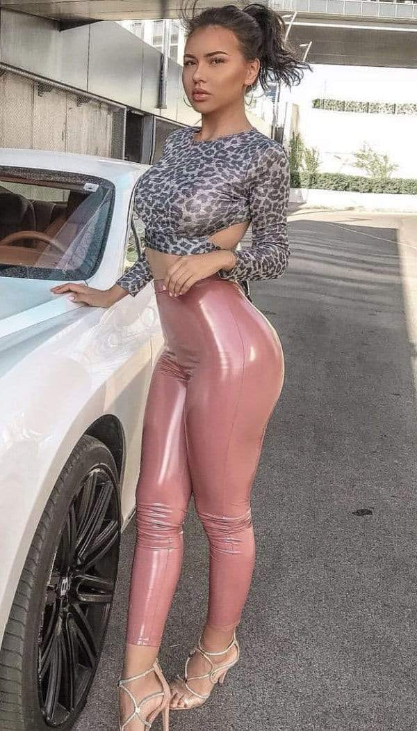 PVC Vinyl Trouser Legging In Rose