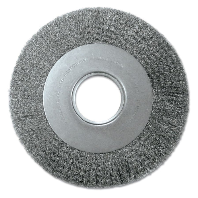 Med. Crimped Wire Wheel-DA Series, 8 D x 1 1/8 W, .014 Carbon Steel, 4,500 rpm
