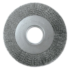 Med. Crimped Wire Wheel-DA Series, 8 D x 1 1/8 W, .0118 Carbon Steel, 4,500 rpm