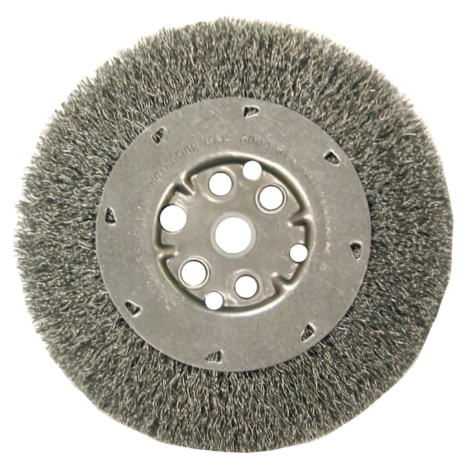 Narrow Face Crimped Wire Wheel-DM Series, 6 D x 7/16 W, .0104 Carbon, 6,000 rpm