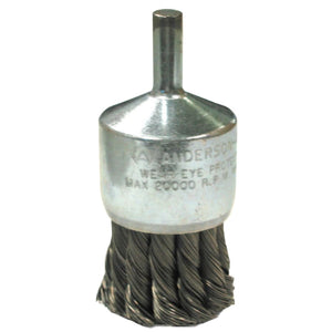 Knot Wire End Brushes-NH-Hollow End-Swaged, Carbon, 1 1/8 in x 0.014, 22,000 rpm
