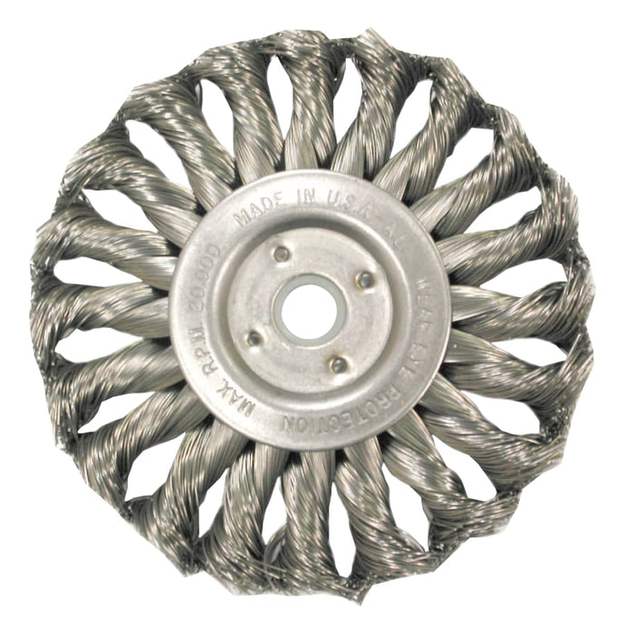Med. Twist Knot Wire Wheel-TS/TSX Series, 8 D x 5/8 W, .014 Carbon 6,000 rpm