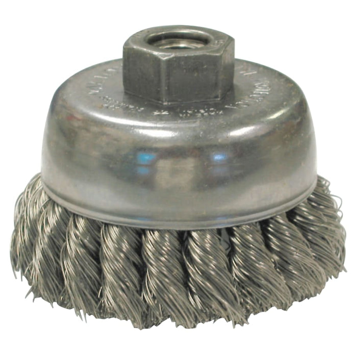 Knot Wire Cup Brushes, 2 3/4 in D, 5/8-11 Arbor, 0.02 Stainless Steel Wire