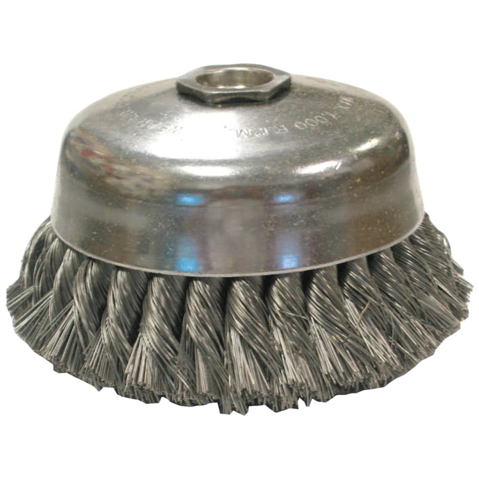 Knot Wire Cup Brushes-Single Row-US Series, 4 in Dia, 5/8-11, .02 Carbon Wire
