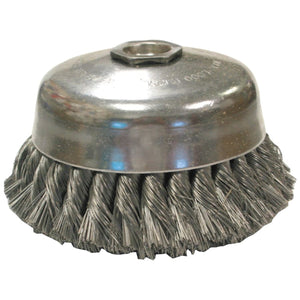 Knot Wire Cup Brushes-Single Row-US Series, 4 in Dia, 5/8-11, .014 Carbon Wire