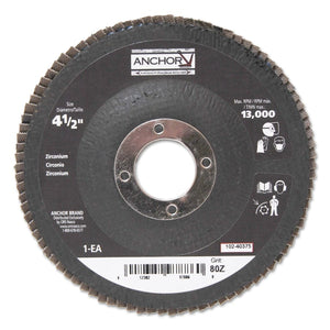 Abrasive High Density Flap Discs, 4 1/2 in Dia, 80 Grit, 7/8 in Arbor, Type 27