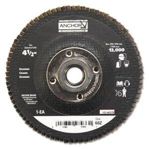 Abrasive High Density Flap Discs, 4 1/2 in Dia, 60 Grit, 5/8-11 Arbor, Type 27