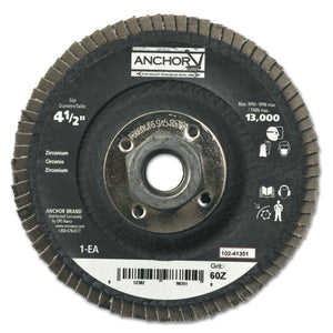 Abrasive High Density Flap Discs, 4 1/2 in, 60 Grit, 5/8 in-11 Arbor, 12,000 rpm