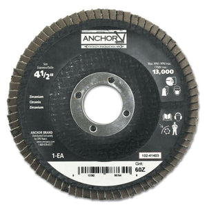 Abrasive High Density Flap Discs, 4 1/2 in, 60 Grit, 13,000 rpm, Flat