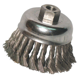 Knot Wire Cup Brush, 4 in Dia., 5/8-11 Arbor, .02 in Carbon Steel, Double Row