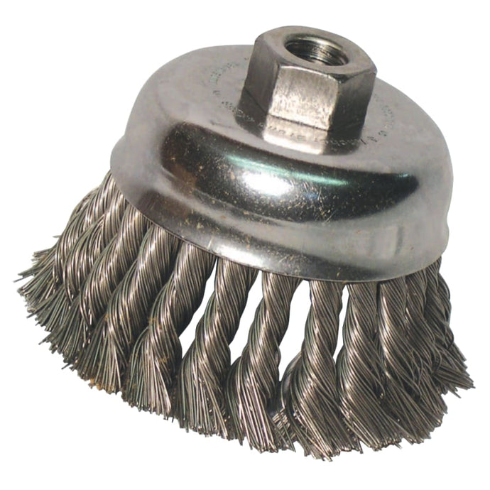 Knot Wire Cup Brush, 5 in Dia., 5/8-11 Arbor, .02 in Carbon Steel